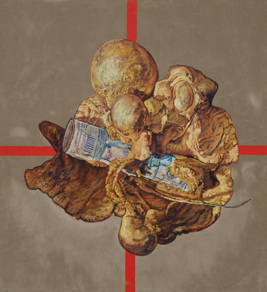 Rudolf Dička: Proroctvo odpadu II. (2006; 100 x 110 cm)